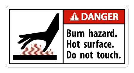 Danger Burn hazard, Hot surface,Do not touch Symbol Sign Isolate on White Background, Vector Illustration