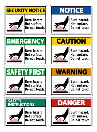 Burn hazard,Hot surface,Do not touch Symbol Sign Isolate on White Background,Vector Illustration