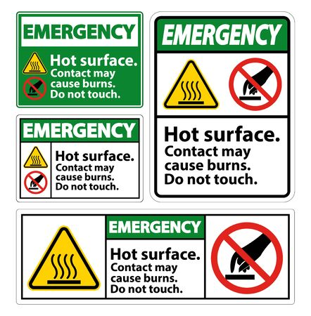 Emergency Hot Surface Do Not Touch Symbol Sign Isolate on White Background,Vector Illustration