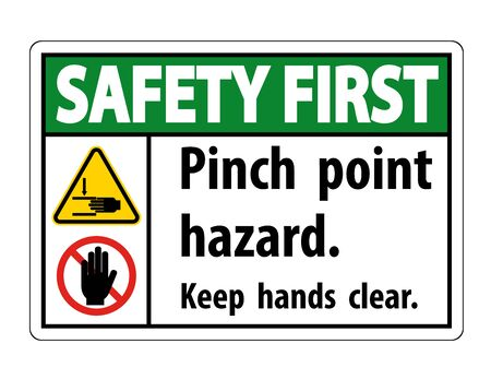 Safety First Pinch Point Hazard, Keep Hands Clear Symbol Sign Isolate on White Background, Vector Illustration
