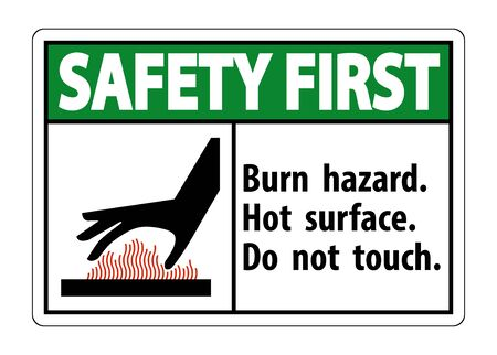 Safety First Burn hazard, Hot surface, Do not touch Symbol Sign Isolate on White Background, Vector Illustration Stock Illustratie