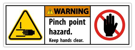 Warning Pinch Point Hazard,Keep Hands Clear Symbol Sign Isolate on White Background,Vector Illustration