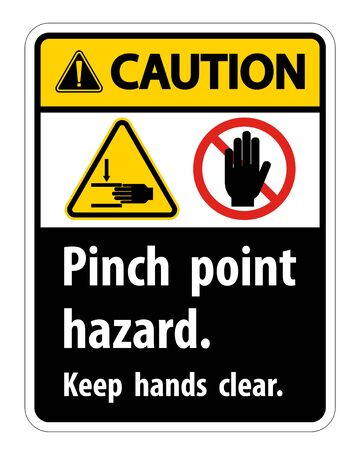 Caution Pinch Point Hazard,Keep Hands Clear Symbol Sign Isolate on White Background,Vector Illustration