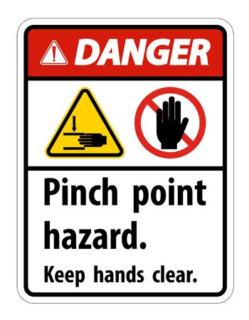 Danger Pinch Point Hazard,Keep Hands Clear Symbol Sign Isolate on White Background,Vector Illustration