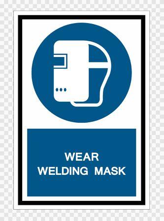 Wear Welding Mask Symbol Sign Isolate on transparent Background,Vector Illustration  Illusztráció