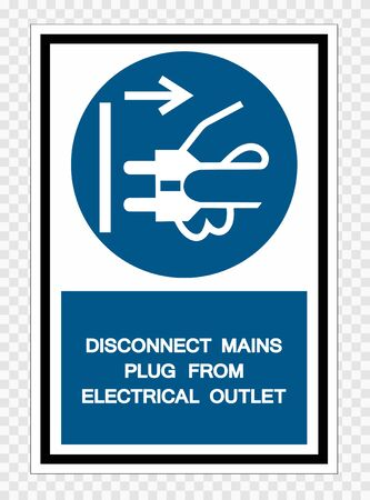 Disconnect Mains Plug From Electrical Outlet Symbol Sign Isolate on transparent Background,Vector Illustration   イラスト・ベクター素材