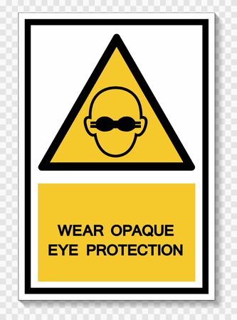 Wear Opaque Eye Protection Symbol Sign Isolate On White Background,Vector Illustration Çizim
