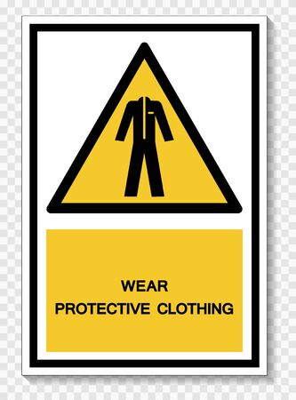 Wear Protective Clothing Symbol Sign Isolate On White Background,Vector Illustration EPS.10  Ilustracja