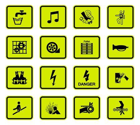 Advertencias símbolos de peligro etiquetas signo aislado sobre fondo blanco, ilustración vectorial