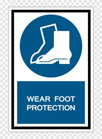 Wear Foot Protection Symbol Sign Isolate on transparent Background,Vector Illustration  Illustration