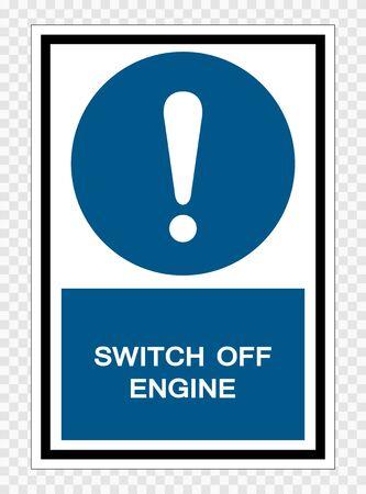 Symbole éteindre le moteur isoler sur fond transparent, illustration vectorielle