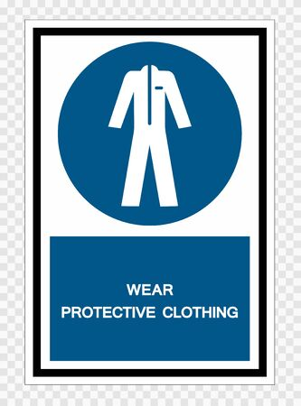 Wear Protective Clothing Symbol Sign Isolate on transparent Background,Vector Illustration