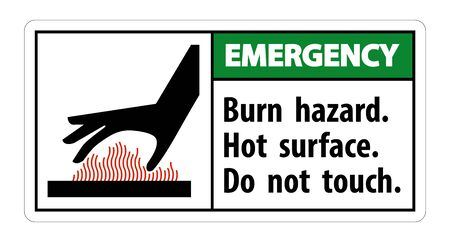 Emergency Burn hazard,Hot surface,Do not touch Symbol Sign Isolate on White Background,Vector Illustration