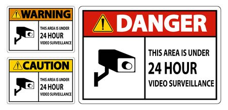This Area Is Under 24 hour Video Surveillance Symbol Sign Isolated on White Background,Vector Illustration