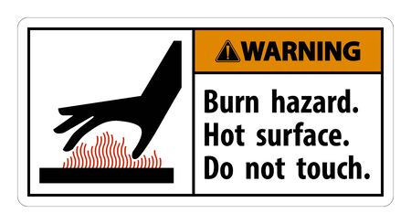 Waarschuwing Brandgevaar, Heet oppervlak, Symboolbord niet aanraken, isoleren op witte achtergrond, vectorillustratie