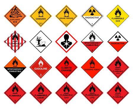 Pictogramas de peligro de transporte de advertencia, signo de símbolo de peligro químico peligroso aislado sobre fondo blanco, ilustración vectorial