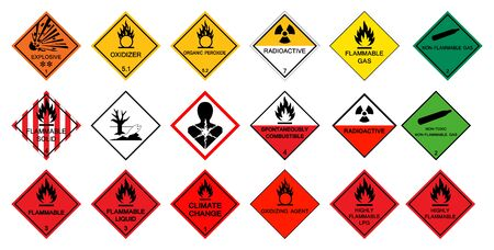 Warning transport hazard pictograms,Hazardous chemical danger Symbol Sign Isolate on White Background,Vector Illustration
