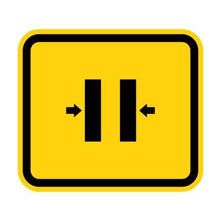 Crush Hazard Closing Mold Symbol Sign Isolate on White Background,Vector Illustration