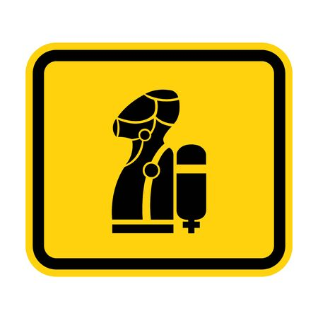 Wear SCBA (Self Contained Breathing Apparatus) Symbol Isolate On White Background,Vector Illustration EPS.10