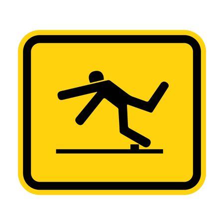 Beware Trip Hazard Symbol Isolate On White Background,Vector Illustration EPS.10 Ilustracja