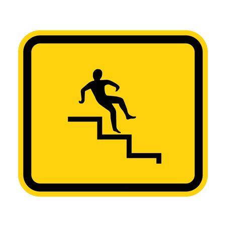 Beware Step Symbol Isolate On White Background,Vector Illustration EPS.10