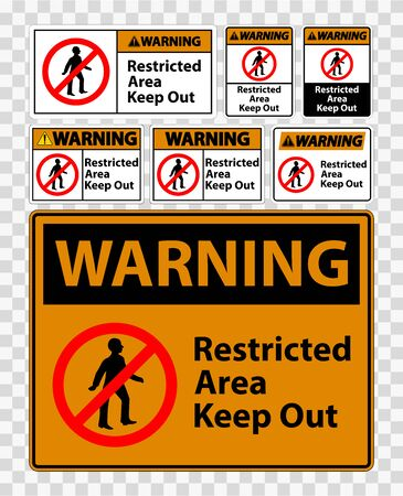 Warning Restricted Area Keep Out Symbol Sign Isolate on transparent Background,Vector Illustration