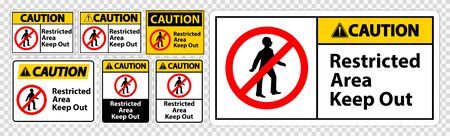 Caution Restricted Area Keep Out Symbol Sign Isolate on transparent Background,Vector Illustration