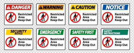 Restricted Area Keep Out Symbol Sign Isolate on transparent Background,Vector Illustration