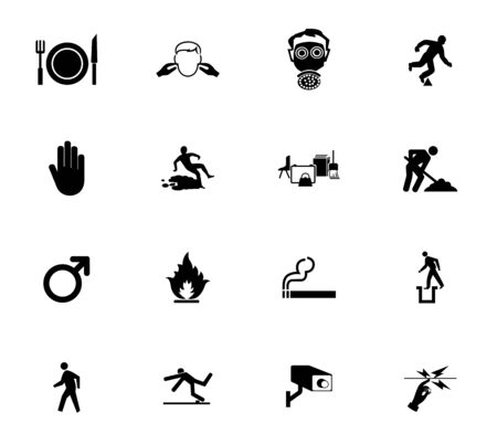 Warning signs,industrial hazards icon labels Sign Isolated on White Background,Vector Illustration Vecteurs
