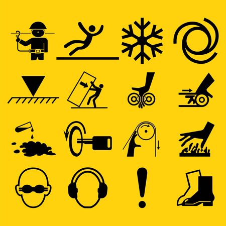 Warning signs,industrial hazards icon labels Sign