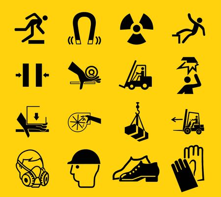 Warning signs, industrial hazards icon labels Sign Isolated on White Background, Vector Illustration