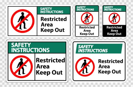 Safety Instructions Restricted Area Keep Out Symbol Sign Isolate on transparent Background,Vector Illustration