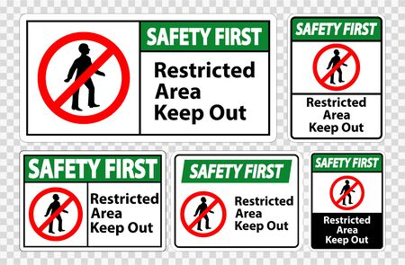 Safety First Restricted Area Keep Out Symbol Sign Isolated on transparent Background, Vector Illustration