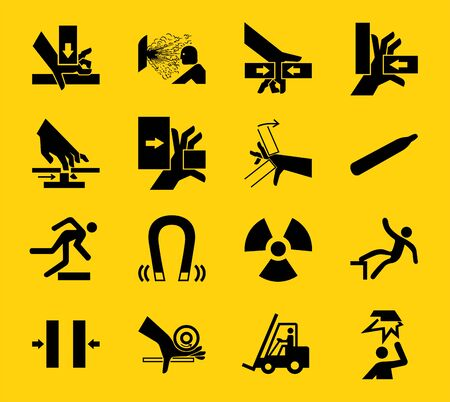 Warning signs,industrial hazards icon labels Sign Isolated on White Background,Vector Illustration  向量圖像