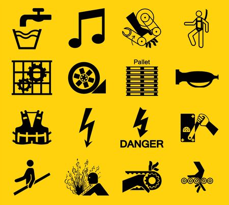 Warning signs,industrial hazards icon labels Sign Isolated on White Background,Vector Illustration