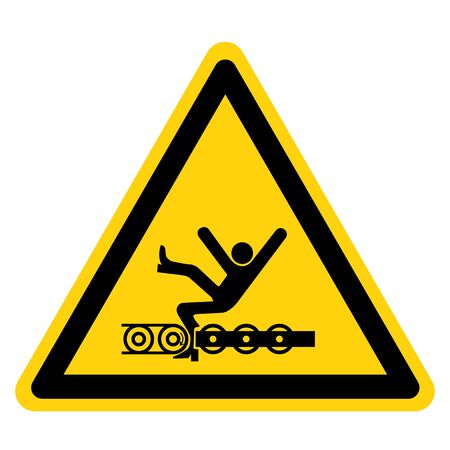 Warning Exposed Conveyor And Moving Parts Will Cause Service Injury Or Death Symbol Sign Isolate on White Background,Vector Illustration
