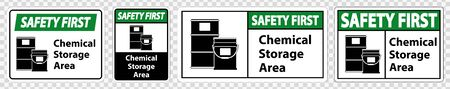 Safety First Chemical Storage Symbol Sign Isolate on transparent Background,Vector Illustration