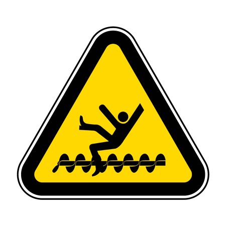 Warning Exposed Rotating Parts Will Cause Service Injury Or Death Symbol Sign Isolate on White Background,Vector Illustration Ilustração
