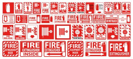 Set label Fire extinguisher Sign on white background Ilustração