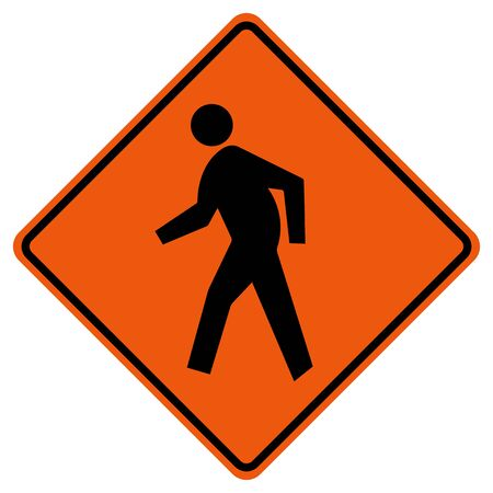 Pedestrian Crossing Traffic Road Symbol Sign Isolate on White Background,Vector Illustration