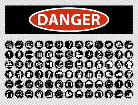 Danger Required Personal Protective Equipment (PPE) Symbol,Safety Icon Ilustracja
