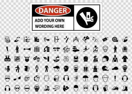 Symbol Safety Sign Danger label Isolated on transparent Background, Vector Illustration