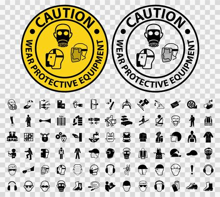 Set Caution Wear Protective Equipment Isolate on transparent Background, Vector Illustration