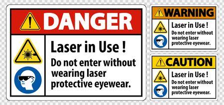 Warning PPE Safety Label, Laser In Use Do Not Enter Without Wearing Laser Protective Eyewear Ilustracja