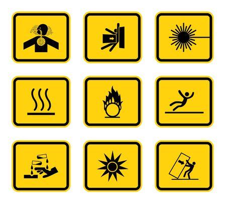 Warning Hazard Symbols labels Sign Isolated on White Background, Vector Illustration
