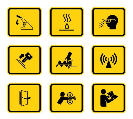 Warning Hazard Symbols labels Sign Isolated on White Background,Vector Illustration