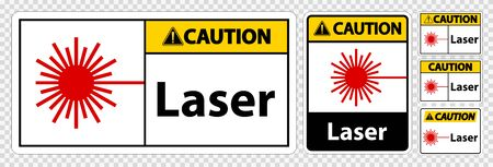 Caution Laser Symbol Sign Symbol Sign Isolate on transparent Background,Vector Illustration Ilustracja