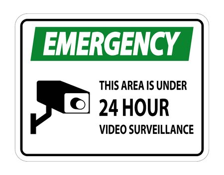 Emergency this Area Is Under 24 hour Video Surveillance Symbol Sign Isolated on White Background,Vector Illustration