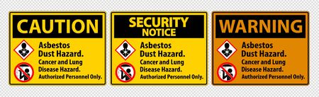 Safety Label,Asbestos Dust Hazard, Cancer And Lung Disease Hazard Authorized Personnel Only Ilustracja