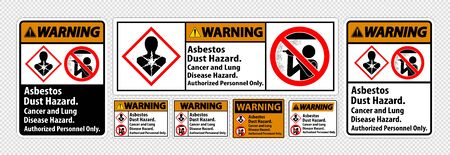 Warning Safety Label,Asbestos Dust Hazard, Cancer And Lung Disease Hazard Authorized Personnel Only Ilustracja